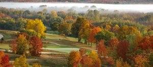 Quit Qui Oc Golf Course and Restaurant Fall Colors Through Foggy Air
