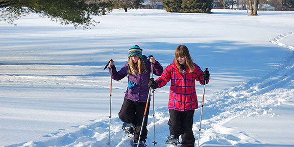 Winter walking and snowshoeing at Quit Qui Oc Golf Course Elkhart Lake